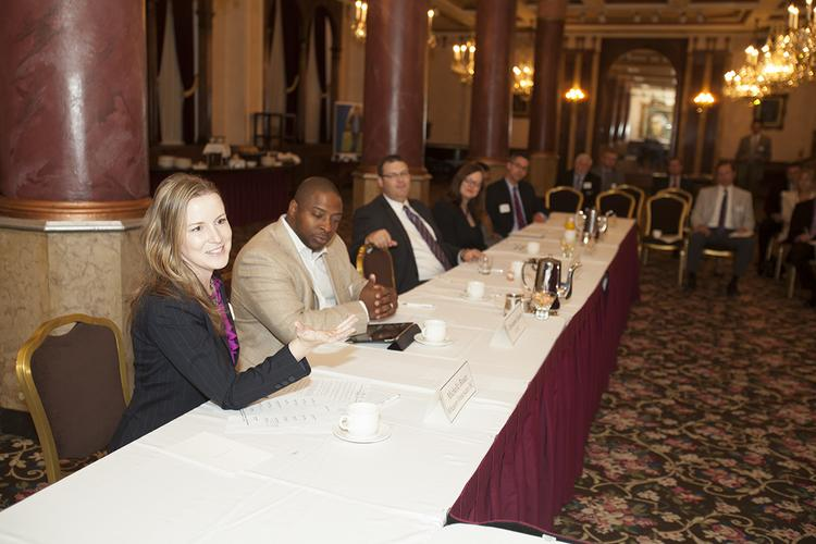 Nine of The Business Journal's 40 Under 40 winners attended the Sept. 10 roundtable.  The Roundtable Nine of The Business Journal's 2013 40 Under 40 winners attended a roundtable Sept. 10 at The Pfister Hotel. Those attending were: • Christopher Boston, Local Initiatives Support Corp. • Michelle Braun, Wheaton Franciscan Health Care-All Saints • Scott Hawig, Froedtert Health • Todd Hetherington, Wireless Logic • Sunil Kanchi, Kanchi Technologies Inc. • Stephanie Lenzner, Children's Hospital of Wisconsin • Nicole Maassen, Alverno College • Brian Randall, Friebert, Finerty & St. John SC • Teig Whaley-Smith, Milwaukee County