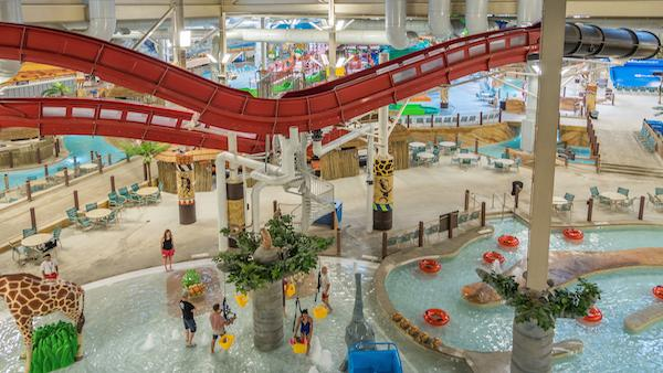 The interior of a Kalahari Resort and Conventions indoor water park in Pennsylvania.