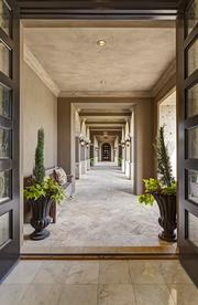 An outdoor hallway at the home.