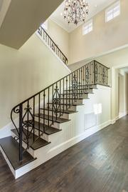 The stairway with custom railing.