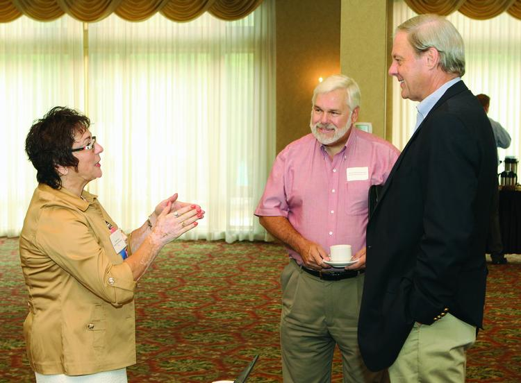 The Pittsburgh Business Times held a Business for Breakfast event Wednesday morning at the Southpointe Golf Club at Southpointe in Cecil Township. Guest speaker Cindy Rack of Social Voice Marketing LLC speaks with Kenneth Doerbecker, center, of Perfection Services Inc. and Steve Swanson of The Alternative Board.