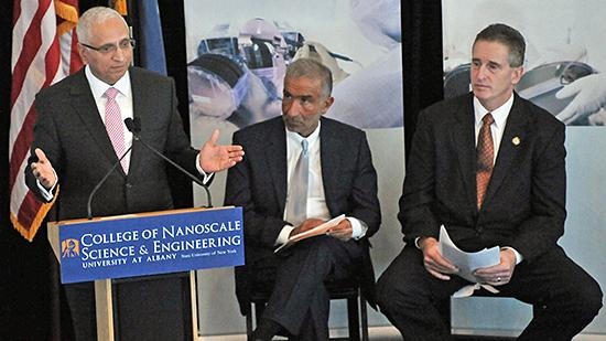 GlobalFoundries CEO (left) shown here with Alain Kaloyeros, CEO of College of Nanoscale Science and Engineering and Lt. Gov. Robert Duffy, hinted the company could move forward with a roughly $10 billion fab in Malta.