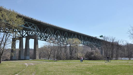 The Patroon Island Bridge carries Interstate 90 traffic over the Hudson River in Albany, NY