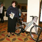 Jane Canale of Schenectady ARC, winner in a Twitter-based trivia contest of a mountain bike from sponsor BlueShield of Northeastern New York.