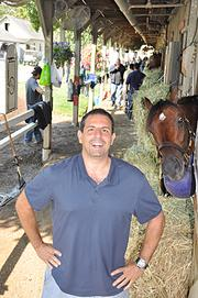 Caixa Eletronica hams it up for the camera, at the Saratoga barns of trainer Todd Pletcher.