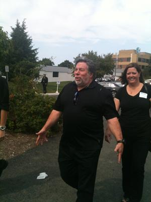 Steve Wozniak, a co-founder of Apple, on the grounds of Tech Valley High School in Rensselaer, New York.