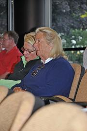 Charlotte Weber, in blue, confers with assistant Ginny Moens at the weekend auctions. Weber, an heiress to Campbell's Soup, bought more horses than any other buyer, spending $620,000.