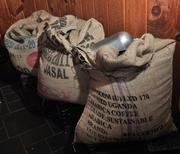 Bags of beans from Uganda are ready for roasting.