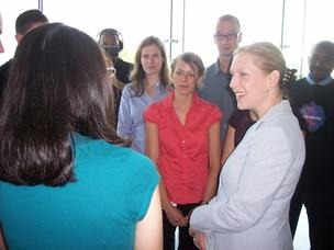 Sen. Kirsten Gillibrand of New York meets with students at the University at Albany's East Campus. Earlier, she discussed plans to introduce a bill to create a $200 million fund biotech companies can use to commercialize discoveries.