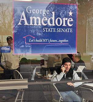 George Amedore on the phone at his campaign headquarters in October 2012.