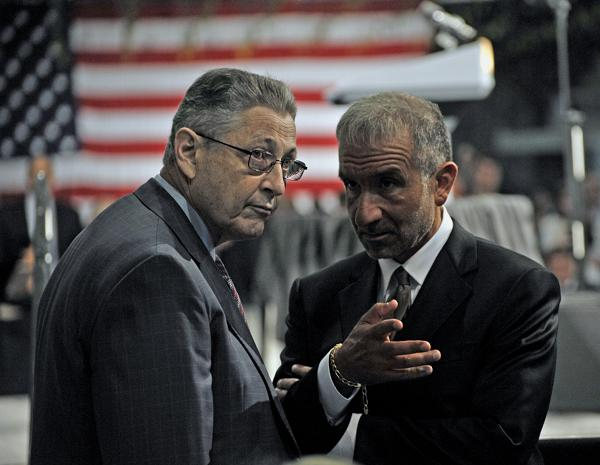State Assembly Speaker Sheldon Silver (left, D-Manhattan) and Alain Kaloyeros, the founder and CEO of the College of Nanoscale Science and Engineering, before President Barack Obama's speech at the nanocollege.
