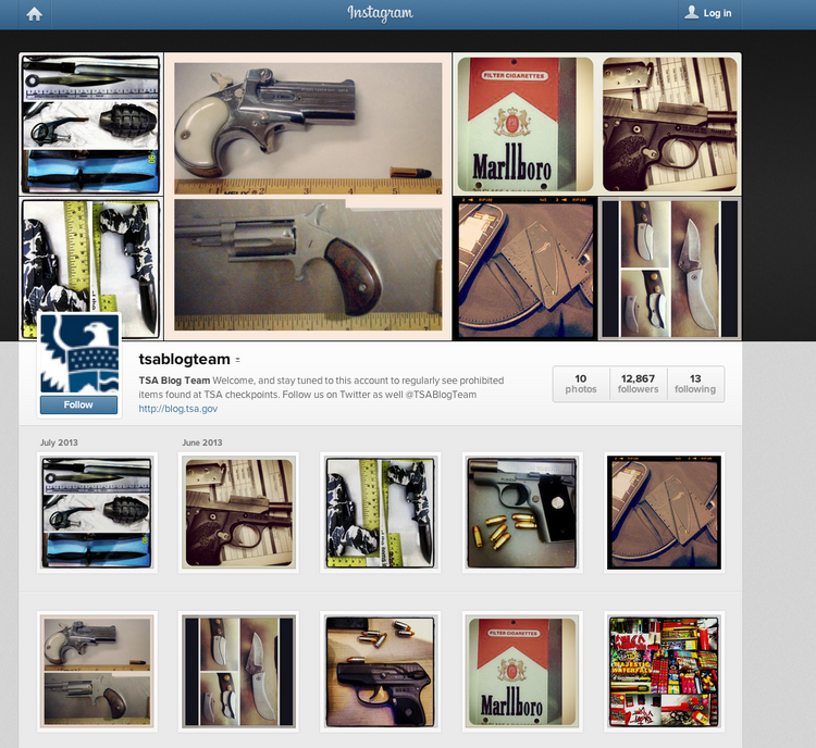 The Transportation Security Administration's new Instagram page.