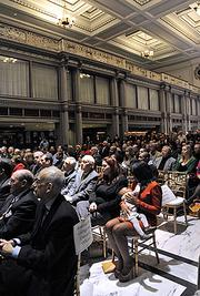 About 200 people filled historic Kiernan Plaza in downtown Albany for the mayor's speech