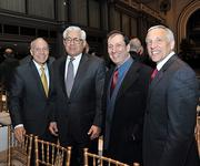Among those attending the speech were (from left to right) Michael Fancher, vice president for business development and outreach at the University at Albany College of Nanoscale Science & Engineering; Alan Goldberg; Mark Campito of Marktech Optoelectronics; and Steve Janack, spokesman at the nanocollege