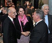 Albany Deputy Mayor Philip Calderone (left) speaks with state Assemblywoman Patricia Fahy and Assemblyman John McDonald
