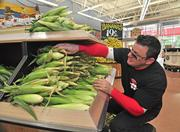 Ricky Pallofolo, a Trader Joe's crew member, stacks ears of corn at the store opening Aug. 3 in Colonie, New York. The produce department includes bananas for 19 cents each, or a bunch of 5 for less than $1. Unlike many supermarket chains these days, Trader Joe's does not put an emphasis on buying fruits and vegetables from local farms.