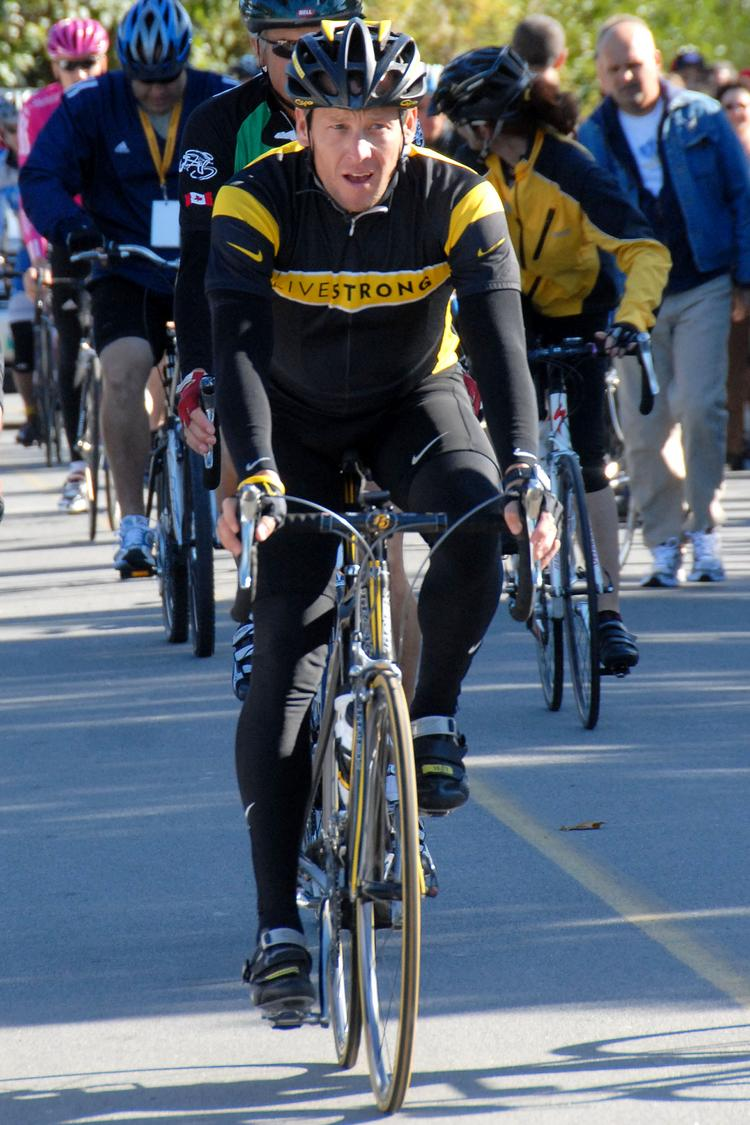 Lance Armstrong, rides in a charity event in 2007.