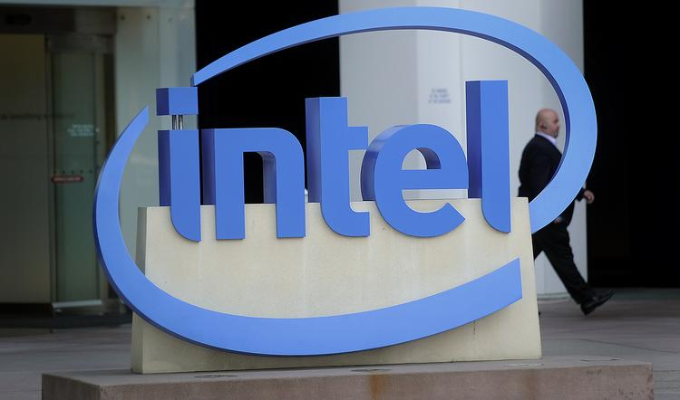 Intel Corp. signage stands outside the company's office in Santa Clara, California.