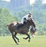 "Julian Aguilar, a 39-year-old professional polo player on the Buckleigh Farms team, grew up in Argentina. ""I love to play, I love the sport,"" Aguilar said."