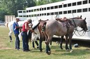 Jose Badriguez (left) and Peter Williams braid horses' tails prior to the start of a polo match.
