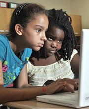 Third-graders Nequira Stamper, left, and Nailah Etienne at Craig Elementary School in the Niskayuna Central School District.