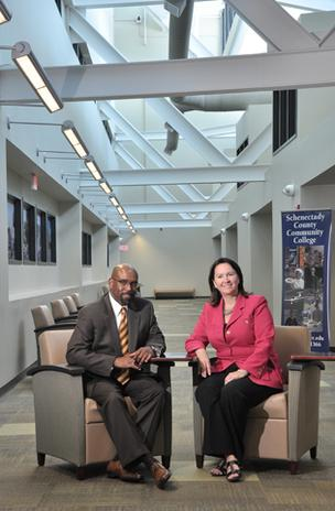 Quentin Bullock, president of Schenectady County Community College, and Denise Murphy McGraw, chairwoman of the school's board of trustees, at City Center, the school's satellite campus. SCCC is seeking bids for a five-year  contract for campuswide food operations including, for the first time, snacks  and vending operations at Center City.