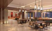 Another view of the lobby at the new Hilton opening in downtown Albany, New York, at the site of the former Crowne Plaza hotel.