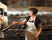 Sarah Fish, chef/owner of The Hungry Fish Cafe in Troy, preparing a Breakfast BLT and homefries.