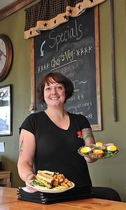Sarah Fish of the The Hungry Fish Cafe in Troy with a (left) Breakfast BLT and Scotch Eggs.