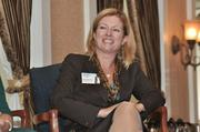 Panelist Heather Briccetti of The Business Council of New York state reacts to a comment.