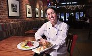 Schenectady's Aperitivo Bistro executive chef Courtney Withey with (left)roasted eggplant baba ghanoush with grilled homemade pita,andapple walnut sticky bun with vanilla ice cream, candied walnuts and caramel sauce.