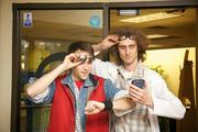 Back 2 the Future at Internet Marketing Ninjas: Randy Capasso Jr., left, as Marty McFly, with Bradley Thibobeau as Doc Brown.