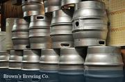 Kegs ready for filing at Brown's Brewing Co. in Albany.