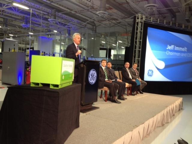 """Jeffrey Immelt, GE chairman and CEO, at the formal opening of the company's battery manufacturing plant in Schenectady. """"GE Energy Storage was born in New York's Capital Region from an idea that we turned into an advanced manufacturing plant. We really think there is a new spirit in New York today.""""</span>"""