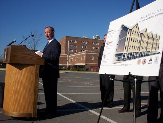 Michael Uccellini, president of United Group of Cos., says interest is high in the new student housing complex going up across from Schenectady County Community College.