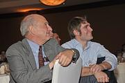 Rensselaer Polytechnic Institute lecturer Burt Swersey and Eben Bayer, CEO of Ecovative Design, at The Business Review's Achievers award ceremony Nov. 10.