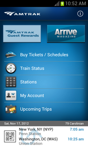 Features on the Android app are similar to the ones on the app for Amtrak's iPhone users.