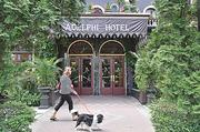 The front of the Victorian-era Adelphi Hotel. Go inside to view the hand-stenciled ceilings.