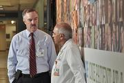 Ellis Medicine CEO James Connolly, left, talks with Dr. Iftikhar Syed, chair of surgery at Ellis.