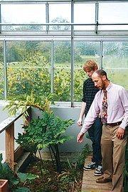 Tim O'Donoghue in a lab with teacher Craig Westcott at the Darrow School in New Lebanon.