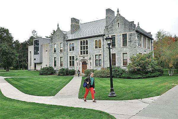A student makes her way across Emma Willard's Troy campus. The school added $40,000 to its budget to expand international recruiting.