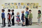 Woodland Hill Montessori's younger students in line at the North Greenbush private school.