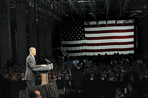 Neither President Obama nor Republican challenger Mitt Romney did much campaigning in New York, where voters have sided with the Democratic candidate in the past six presidential elections. Obama is shown here during a visit to the College of Nanoscale Science and Engineering in Albany in May.