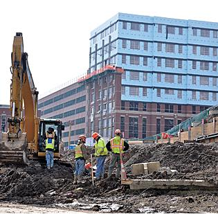 A construction crew at work on the $360 million Albany Medical Center project.