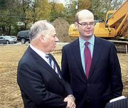 Barry Larner, principal of Schuyler Cos., left, with Anders Tomson, president of Capital Bank. Their two companies recently teamed up on a new branch in Loudonville.