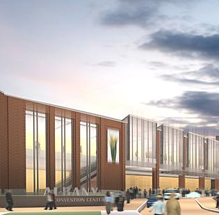 "A rendering of the proposed Albany Convention Center. ""I think the momentum has kind of planed out,"" says Todd Reichelt, GM of the Crowne Plaza. ""It needs to be re-energized."""