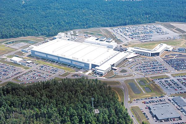 Aerial view of the GlobalFoundries manufacturing plant in Malta, New York.