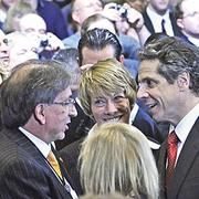David Buicko, chief operating officer of the Galesi Group, and Gov. Andrew Cuomo exchange a friendly word.