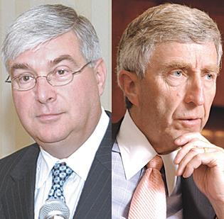 A federal judge on Wednesday delayed the trial of indicted Albany investment brokers Timothy M. McGinn (left) and David L. Smith.  Federal prosecutors accuse the two of misusing millions of dollars in investor funds. Both have pleaded not guilty to the allegations.