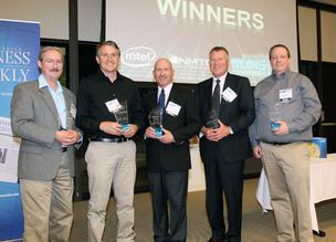 Pictured are the 2012 Titans of I.T. category winners.